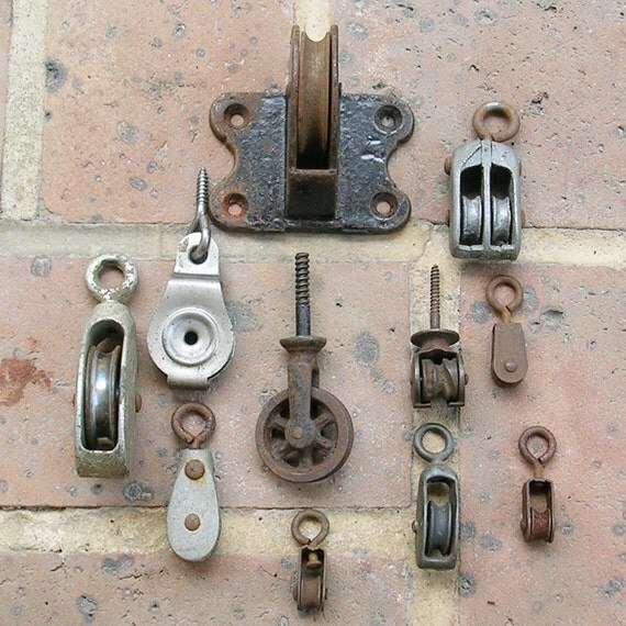 Small Pulleys : Vintage metal pulleys pulley wheels small