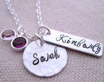 Mothers Necklace - Duo - Personalized Necklace - Mommy Necklace - Birthstone Mothers Jewelry