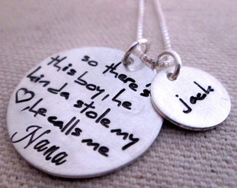 Grandma Necklace - Personalized Necklace - So There's This Boy Nana Necklace - Personalized Jewelry - hand stamped necklace