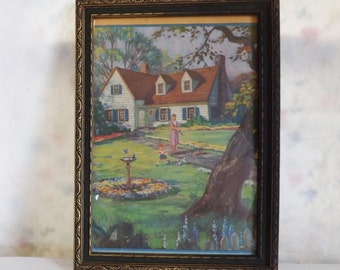 Vintage 1940s framed print cottage with lady, little boy and dog in embossed rose frame modern farmhouse decor