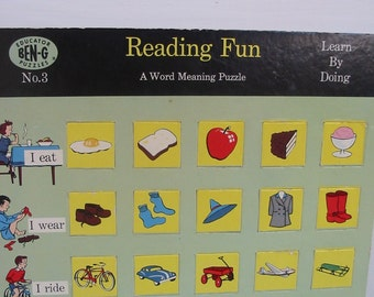 Vintage Picture Word Puzzle Reading Fun Retro Phonics