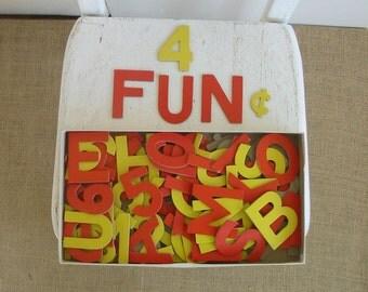 Vintage Cardboard Letters Numbers, Milton Bradley Game, Home School Supplies, Ephemera Supply