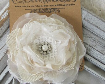 Bridal Hair Flower Cream Burlap, Burlap Wedding  Bridal Accessory Bridal Hair Pin
