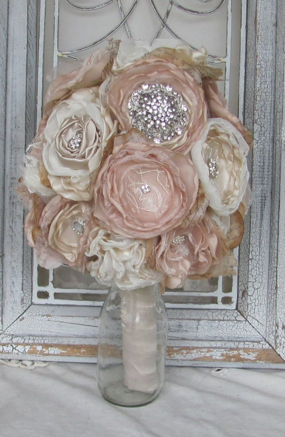 Bridal Brooch Bouquet , Wedding Bouquet,Rhinestone Bouquet,Fabric Flower Bouquet, Vintage bouquet, Champagne and Ivory, Shabby Chic Bouquet