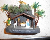 Vintage Hard Plastic Nativity Can Hang on your Wall