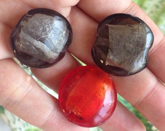 3 Thick Artisan Glass Disc Beads - red & charcoal
