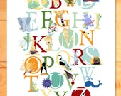 Childrens Decor, Nursery Wall Art, ABC Wall Art, Alphabet Animals Art Print - choose Boy or Girl or Both or Neutral