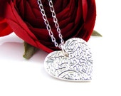 Silver Heart Pendant, Handcrafted Tendril Loveheart Necklace in solid silver