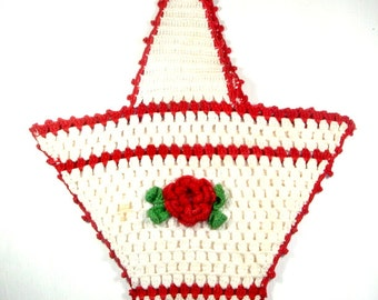 Vintage Basket Potholder, Red and White Mid Century Kitchen Decor, Crocheted Potholder, Red Flower, Retro Wall hanging  (280-12)