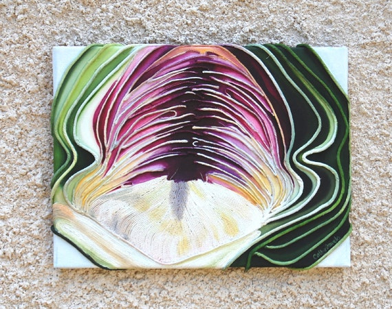 Artichoke Painting - mixed media original string art kitchen picture - Christmas Gift