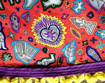 Cinco de Mayo Mexican Milagros Tablecloth Round Cantina Style Orange Purple Yellow Vintage PomPoms