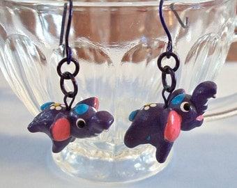 Elephant Earrings on Purple Earring Wires
