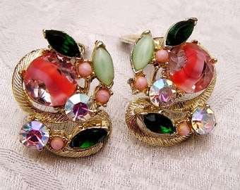 Vintage Rhinestone Earrings in Spring Colors (J12)