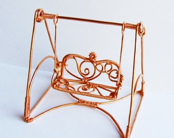 Miniature Copper Garden Swing Wire Sculpture