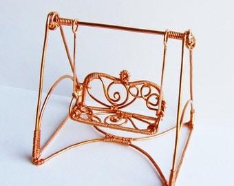 Miniature Copper Garden Swing Wire Sculpture
