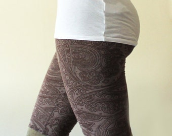 Basic long shorts above the knee, grey purple henna print - available in sizes, XS, S, M, L, XL and custom sizes - Kezbirdie