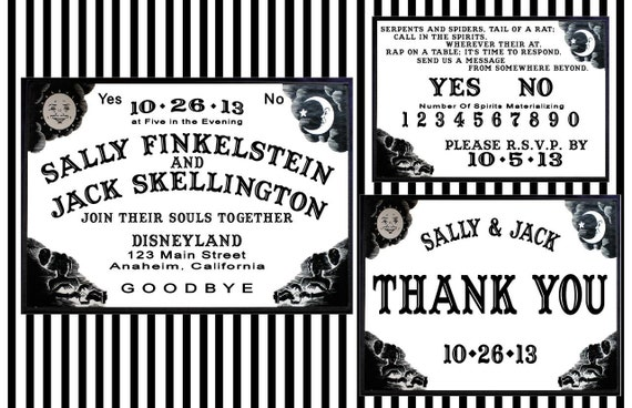 Spooky Ouija Board Halloween Wedding Invitation Set - 100 Invites, Response Cards, and Thank You Cards with Matching Envelopes