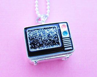 Glitter Television Necklace - 3D glitter screen miniature TV  (T3)