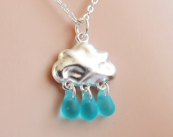 Raindrop Rain Cloud Necklace - glass blue aqua raindrop, silver cloud  (T3)