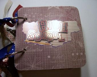 School Mini Scrapbook Album, High School Mini Album, School Photo Album, School Brag Book, School Chipboard Album, School Album