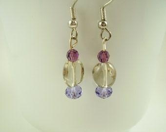 Amethyst Swarovski Crystal and Smokey Fluorite Earring-Fluorite Gemstone Dangle Earrings-Provence Lavender Crystal Earring-Gift Ideas moms