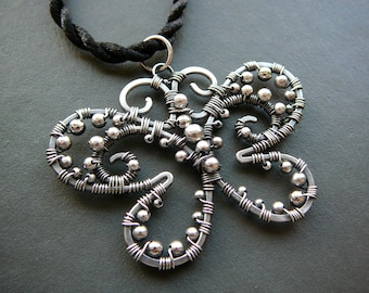 Black Butterfly  - wire wrapped filigree sterling silver pendant.