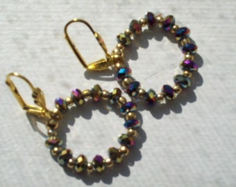 Gold and Purple Crystal Earrings by hipknitta
