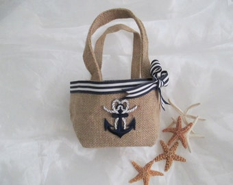 Small Blue Anchor Nautical Burlap Flower Girl Petal Yacht Club Wedding Beach Weddings Navy And White  Summer Fall Wedding Flowergirl Basket
