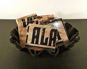 The Alarm wood coasters & warped record bowl, recycled Declaration music album