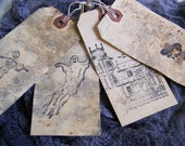 Handmade Halloween Gift Tags Vintage Halloween Ornaments Paper Hang Tags Grunge Gift Tags
