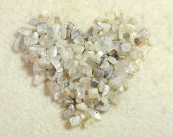 Grey White Cream Iridescent Moonstone Chip Nugget Semi Precious Stone Beads A7