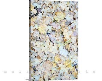 Autumn Leaves, Wall Art Canvas, Nature Photo, Pastel Art, Vertical Print, Maple Leaf Photo, Fall Leaves, Gallery Wrap, Giclee Canvas Print