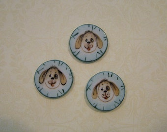 Round Porcelain Dog Buttons - Handmade and Hand Painted - 3/4 inch - Set of 3
