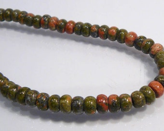 10 Beads....Unakite Smooth Puffed Gemstone Rondelle Beads....6x4mm...BB