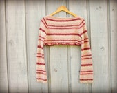 Pink Purple Striped Cropped Sweater// Medium Large/ Boat Neck