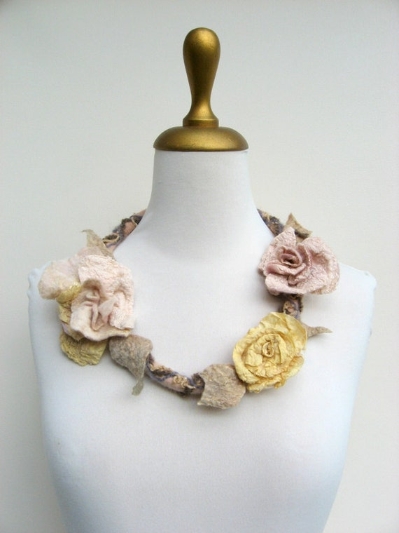Felted  Fiber Necklace Shabby Chic Golden Cream Ivory