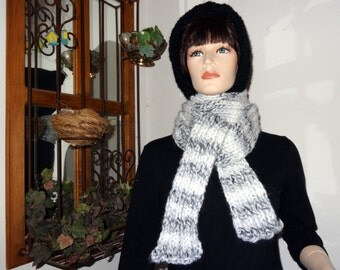 50% Off  -  Black and Striped  Warm Hooded Scarf
