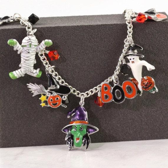 Halloween Jewelry Bracelet Witch Ghost Black Cat Pumpkin Bats Mummy Boo Spider