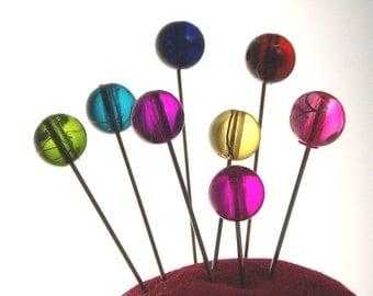 Gold swirl sewing pins - set of 8 medium long straight pins