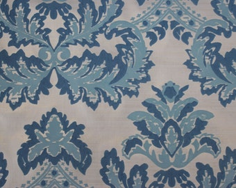 1970's Flocked Vintage Wallpaper Retro Large Blue Baroque on White