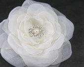 Bridal Hair Flower,  Ivory Organza Rose Hair Clip  K289, bridal hair accessory