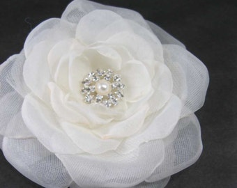 Bridal Hair Flower,  Ivory Organza Rose Hair Clip  K251, bridal hair accessory