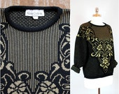 Vintage KATE COLLINS sweater / 80's black and gold sweater / metallic ski sweater