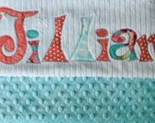 Monogrammed Baby Blanket in FROST, Aqua Blue Minky & White Chenille, Personalized with Your Baby Girl's Name in Coral Pink, Aqua, and Lime