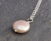 Handmade coin pearl pendant necklace