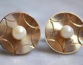 Goldtone & Faux Pearl Cufflinks