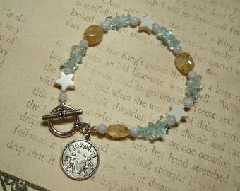 Gemini - Zodiac Charm Apatite Citrine Howlite and Blue Lace Agate Toggle Clasp Bracelet