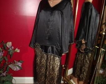 20s Theme  Gold Hands Vintage Blouse Poncho  Flapper style  Silk 100%  Size L