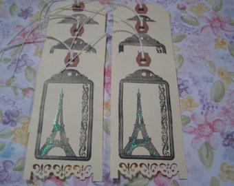 Paris Eiffel Tower Shabby Chic handmade Gift-Tag set of 6