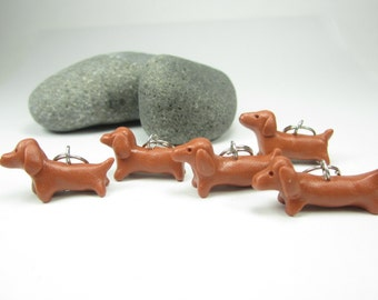 Dachshund Stitch markers (set of 5) polymer clay dog knit knitting stitch markers dog charms gifts knitter friend miniature dog polymer clay